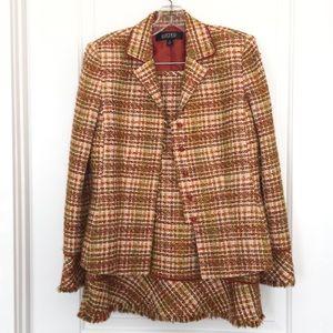 Kasper Tweed 2PC Jacket Skirt Suit Fringe Hem 8